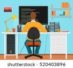 man programmer back working on... | Shutterstock .eps vector #520403896