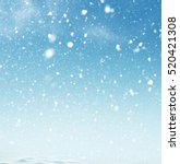 Stock photo winter christmas sky with falling snow 520421308