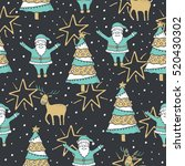 christmas seamless pattern with ... | Shutterstock .eps vector #520430302