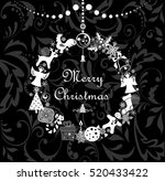 black and white greeting... | Shutterstock .eps vector #520433422