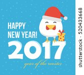 flat design new year card with... | Shutterstock .eps vector #520433668