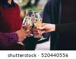 coworkers clinking champagne... | Shutterstock . vector #520440556
