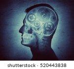 human intelligence made of cogs ... | Shutterstock . vector #520443838