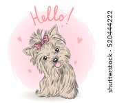 small  cute puppy girl. vector... | Shutterstock .eps vector #520444222