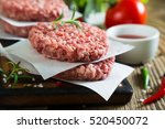 raw burger and spices | Shutterstock . vector #520450072