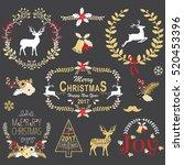 gold christmas chalkboard...   Shutterstock .eps vector #520453396