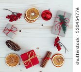 christmas gift boxes... | Shutterstock . vector #520454776