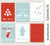 set christmas gift tags with... | Shutterstock .eps vector #520458178