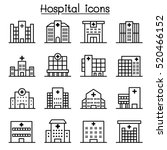 hospital building icon set in...