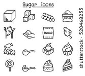 sugar icon set in thin line... | Shutterstock .eps vector #520468255