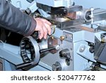 worker's hand on the... | Shutterstock . vector #520477762