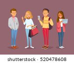group of four young people... | Shutterstock .eps vector #520478608