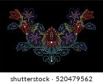 floral neck embellishment with... | Shutterstock .eps vector #520479562