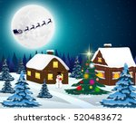 night christmas forest... | Shutterstock .eps vector #520483672