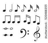 Stock vector music notes vector icon set black musical key signs 520488355