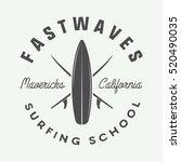 vintage surfing logo  emblem ... | Shutterstock .eps vector #520490035