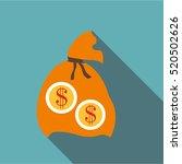 orange money bag icon. flat... | Shutterstock . vector #520502626