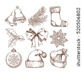 christmas icons hand drawn... | Shutterstock .eps vector #520506802