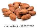 Almond Nuts Isolated On White...
