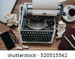 vintage type writing machine.... | Shutterstock . vector #520515562