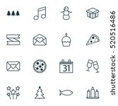 set of 16 christmas icons. can... | Shutterstock .eps vector #520516486