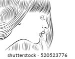 drawing portrait of young woman. | Shutterstock .eps vector #520523776