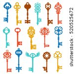 colorful keys set of different... | Shutterstock .eps vector #520525672