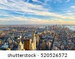 manhattan skyline at sunset... | Shutterstock . vector #520526572