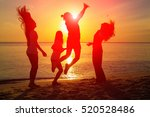 silhouette of girl group in the ... | Shutterstock . vector #520528486