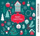 set of vector christmas...   Shutterstock .eps vector #520532518