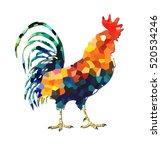 geometric chi ken is standing ... | Shutterstock . vector #520534246