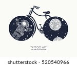 bicycle tattoo art. travel ... | Shutterstock .eps vector #520540966