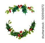 branches of christmas holly.... | Shutterstock . vector #520543072