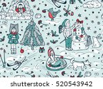 seamless pattern with hand... | Shutterstock .eps vector #520543942