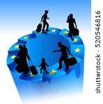 refugees on an endless circular ... | Shutterstock .eps vector #520546816