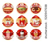 vector set of fast food logos ... | Shutterstock .eps vector #520547038