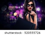 shopping woman holding grey bag ... | Shutterstock . vector #520555726