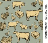 farm animals seamless pattern... | Shutterstock .eps vector #520557406
