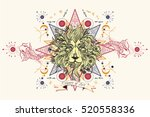 astrology tattoo lion head.... | Shutterstock .eps vector #520558336