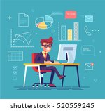 office work concept vector with ... | Shutterstock .eps vector #520559245