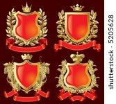vector set of gold heraldic... | Shutterstock .eps vector #5205628