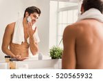 happy guy is ready to shave | Shutterstock . vector #520565932