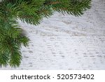 Green Pine Branches Over White...