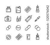 pills  drugs  pharmacy medicine ... | Shutterstock .eps vector #520576042