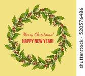 holly and mistletoe wreath.... | Shutterstock .eps vector #520576486