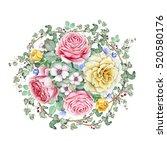 watercolor rose bouquet. great... | Shutterstock . vector #520580176
