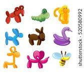 vector balloon animals toys... | Shutterstock .eps vector #520580992