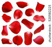 Red rose petals set, isolated on white, vector illustration