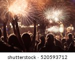 cheering crowd watching... | Shutterstock . vector #520593712