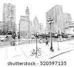 chicago city hand drawn. street ... | Shutterstock .eps vector #520597135